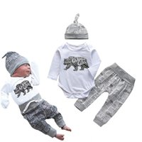 Newborn Boy Clothes Baby Bear Letter Print Long Sleeve Romper+Pants+Hat Infant Clothing 3Pcs Toddler Outfits Set 210309