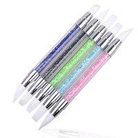 Nail Art Kitleri 1 adet Kalem Strass Baş Fırçası Silikon Fırçalar Akrilik Kayış Boyama Çizim Lehçe SPATULI