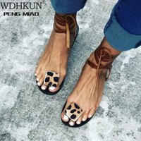 WDHKUN 2020 여름 스트랩 샌들 Womens 아파트 오픈 토우 레오파드 캐주얼 신발 로마 플러스 사이즈 35 43 힐 샌들 소년 샌들, $ 1 H1xn #