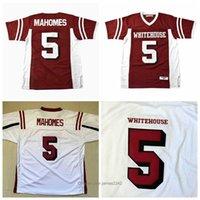 Patrick Mahomes # 5 Jersey de football blanc de lycée blanc rouge rouge cousue S-3XL Vintage de haute qualité