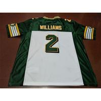 001 Edmonton Eskimos # 2 Gizmo Williams White Green Real Full Stickerei College Jersey Größe S-4XL oder Benutzerdefinierte Name oder Nummer Jersey