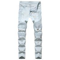 ثقوب ألواح رجالي مصمم جينز الأزياء مكدسة ممزق سستة يطير رجالي سروال رصاص عارضة الذكور الجينز