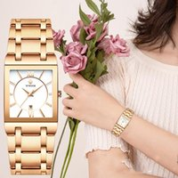 Armbanduhren Wwoor Damenuhr Frauen Mode Rose Gold Weiß Armbanduhr Quadrat Casual Steel Relogio Feminino
