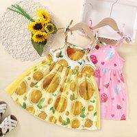 Детская одежда для девочек, слинг фруктовый принт подвеска платье детей кружева чистая пряжа лимона мороженое принцесса платья летом мода бутик детская одежда