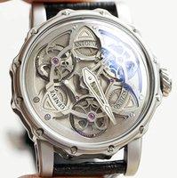 Nuevo estilo, reloj para hombres, reloj deportivo, hebilla de aguja, movimiento automático, esfera de acero inoxidable, navegador correa de cuero negro