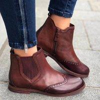 MONERFFI Fashion autunno inverno donne stivali PU femmina laterale con cerniera stivale vintage moda caviglia con tacco alto scarpe da neve stivale feminina v6wc #