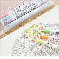 12 Renkler / Set Sevimli Süt Liner Kalemler Vurgulayıcı Çift Çift Başlı Floresan Kalem Çizim Marker Kalem Kırtasiye Schoo Jllwtb
