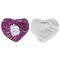 Sirena almohada caso doble color lentejuelas amor corazón cojín cubiertas sublimación en blanco Moda almohada NHE7102