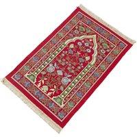 Tappeti portatile musulmana di preghiera tappeto spessa islamica crocchetta turca di preghiera tappetino vintage foglie floreali modello tessuto nappa coperta