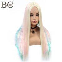 Прямая кружева передний парик 13 * 4 синтетический парик для белых женщин блондинки синий розовый красочный радуга косплей парик для фея