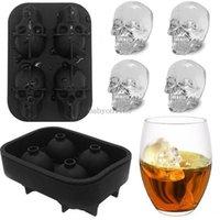Hohlraumschädelkopf 3D Mold Skeleton Schädel Form Wein Cocktail Eis Silikon Würfel Tablett Barzubehör Candy Mold Weinkühler CPA3402