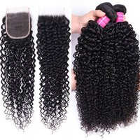 3 Bundles With 4x4 Transparent Lace Frontal 10A Brazilian Curly Water Deep Hair Peruvian Hair Extensions Malaysian Human Hair Bundles With Closure