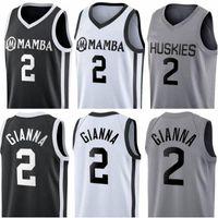 Costurado Gianna Maria Onore Jersey Uconn Huskies Especial tributo College 2 Gigi Mamba Memorial Basketball Jerseys