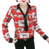 Moda 2021 Primavera European Vestiti V-collo Cravatta Stampa Cavallo Camicetta Donne Camicia Chiffon Camicia a maniche lunghe Ropa Mujer Tops T02514