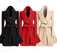 Coteau de laine de laine de style chaude de mode européenne et américaine, tissu de laine à taille mince, couche de dames, brise-vent de laine