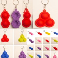 2021 Push Bubble Fidget Keyring Simple Dimple Toys Key Holde...
