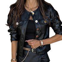Women's Jackets Women PU Leather Spring Autumn Faux Coats Ladies Motor Biker Button Slim Basic Black Short D30