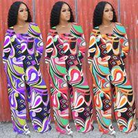 Geometric Pattern Rompers Womens Jumpsuit 2021 Square Collar Full Sleeve Wide Leg Overall Elegant Ladies Full Length Bodysuits