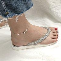 Amaiyllis S925 Sterling Silver Star for Girls Stars Beach Boda Boda Pulsera de la pierna de las mujeres Pie de la joyería de las mujeres Regalo