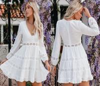 2021Europeia e americana de moda de moda splicing cintura alta v vestido de manga comprida