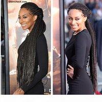 Livraison Gratuite 30inches Long Synthetic Dentelle Dentelle Perruque avant avec cheveux bébé Afro-américain Tressé Noir Color Color Box Tressions Perruques pour femmes noires