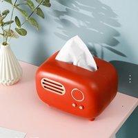 Retro Radio Modelo Tecido Caixa De Desktop Paper Titular Do Vintage Paper Dispenser Dispensador De Armazenamento Navogo De Organizador Ornaminer Ornament Craft BWD5136