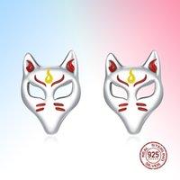 2021 Fox Mask Light Ohrstecker Authentic 925 Sterling Silber für Frauen Fine Schmuck BIJOUX