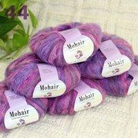 VERKOOP 6BALLSX25G Luxe Soft Mohair Haak Garen Mastictops Wrap Sjaal Roze Paars Grijs Multi 291-44-6