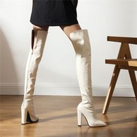 Boots RIBETRINI Sexy Brand Block High Heels Party Dress Thigh For Women Snake Print Over The Knee Fashion Footwear