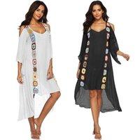 Mulheres biquíni maiô roupa de banho de maiô ups crochet colorido colorido floral praia vestido 3/4 mangas sexy ombro frio frio