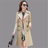 Women's Trench Coats Fashion Plus Size Long Coat 2021 Spring Autumn Korean Slim Khaki Red Windbreaker Female Outerwear 3XL