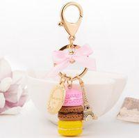 Cuerda Cadena de Moda Macarrones Cake Ocultar Key Hot Key Colgante Llaveros Automóviles Accesorios Accesorios Mujer Bolsa Charm Tinket