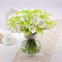 20 adet / grup Yapay Çiçekler Gerçek Dokunmatik Mini Calla Lily Yapay Çiçekler Ev Dekorasyon Için Düğün Buketleri (Vazo Yok)