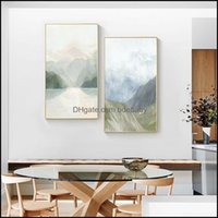 Paintings Arts, Crafts Gifts Home & Gardenpaintings Scandinavian Green Mountain Canvas Painting Abstract Landscape Art Poster Print Dining R