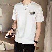 Nuovo Plus Size Preto / Branco Manga Curta T-Shirts Roupas Masculinas 2021 Simples Gola Redonda Magro Ajosse Casual Camisa Masculina Streetwear