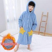 2021 NUEVO otoño de invierno niños Flannel Standard Star Robe OnSie Pijamas Chicos de alta calidad con capucha Robas de ropa de dormir para 4-13T 34WM