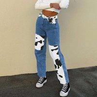 Patchwork Yüksek Bel Streetwear Pantolon Grunge Tarzı Y2K 90 S Denim Kot Inek Patchwork Moda Kadınlar E-Kız Trendy Pantolon W0104