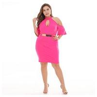 Women's Plus Size Dress Pure Colour Spring and Summer Empire Dresses Shoulder Hollow Out Bottom Vestidos 2021