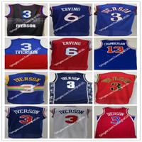 Georgetown Hoyas College Allen Iverson Formalar 3 Erkekler Basketbol Dr J Julius Erving 6 Wilt Chamberlain 13 Mavi Siyah Beyaz Kırmızı Kaliteli