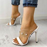 2021 Yeni Seksi Kadınlar Parlak Süslenmiş Açık Toe Şeffaf Stiletto Ince Yüksek Topuklu Sandalet Kadın Artı Boyutu Ayakkabı XO2X