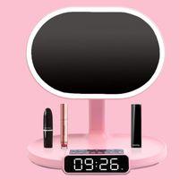 Mirrors Makeup Mirror With LED Light, Bedside Night Alarm Clock Bluetooth Speaker, For Bedroom Decor CN(Origin)