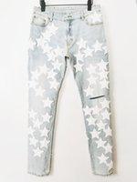 Mens Designer Jeans Patchwork For man White Size 29-36 rock revival True Cotton Off Blue Vintage Pants Casual Slim-leg Motorcycle Leather Elasticity Denim Skinny Jean