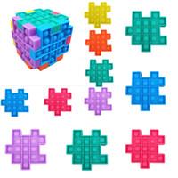 Fidget Quebra-cabeça Fidget Sensory Silicone Cubo Push Bubble Puzzle Anti Stress Push Cubes Squeezy Squeezy Festa Brinquedos HH38K1J5