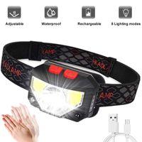 Headlamps Led Headlight Motion Sensor Built-In Battery Inspection Work Night Light Fishing Flashlights
