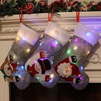 2021 빛나는 크리스마스 스타킹 선물 가방 회색 조명 크리스마스 이브 인테리어 장식 펜던트