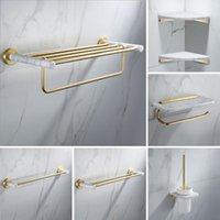 Bath Accessory Set Bathroom Accessories Brushed Gold Hardware Towel Rack Paper Holder Toilet Brush Bar Corner Shelf