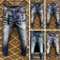 2021 آخر قائمة نحيل جينز للرجال انفجرت ثقوب جينز دراجة نارية السائق الدينيم السراويل الرجال ماركة أزياء مصمم الهيب هوب رجل جينز