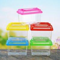 NewLittle Pet Tavşan Evi Mini Temizle Hamster Kafesi Sevimli Şeffaf Plastik Goldfish Kaplumbağa Kase ile Taşınabilir Kolu Birçok Renkler EWA5530