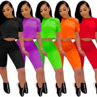 Women Tracksuit Two Pieces Set Designer Casual Short Sleeve Outfits Solid Color Ladies Fashion Loose T Shirt Jogging Suits