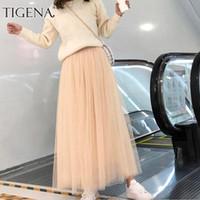 TIGENA 98 CM Uzun Maxi Tutu Tül Etek Kadın Moda İlkbahar Yaz Kore Yüksek Bel Pileli Okul Örgü Etek Bayan 210305